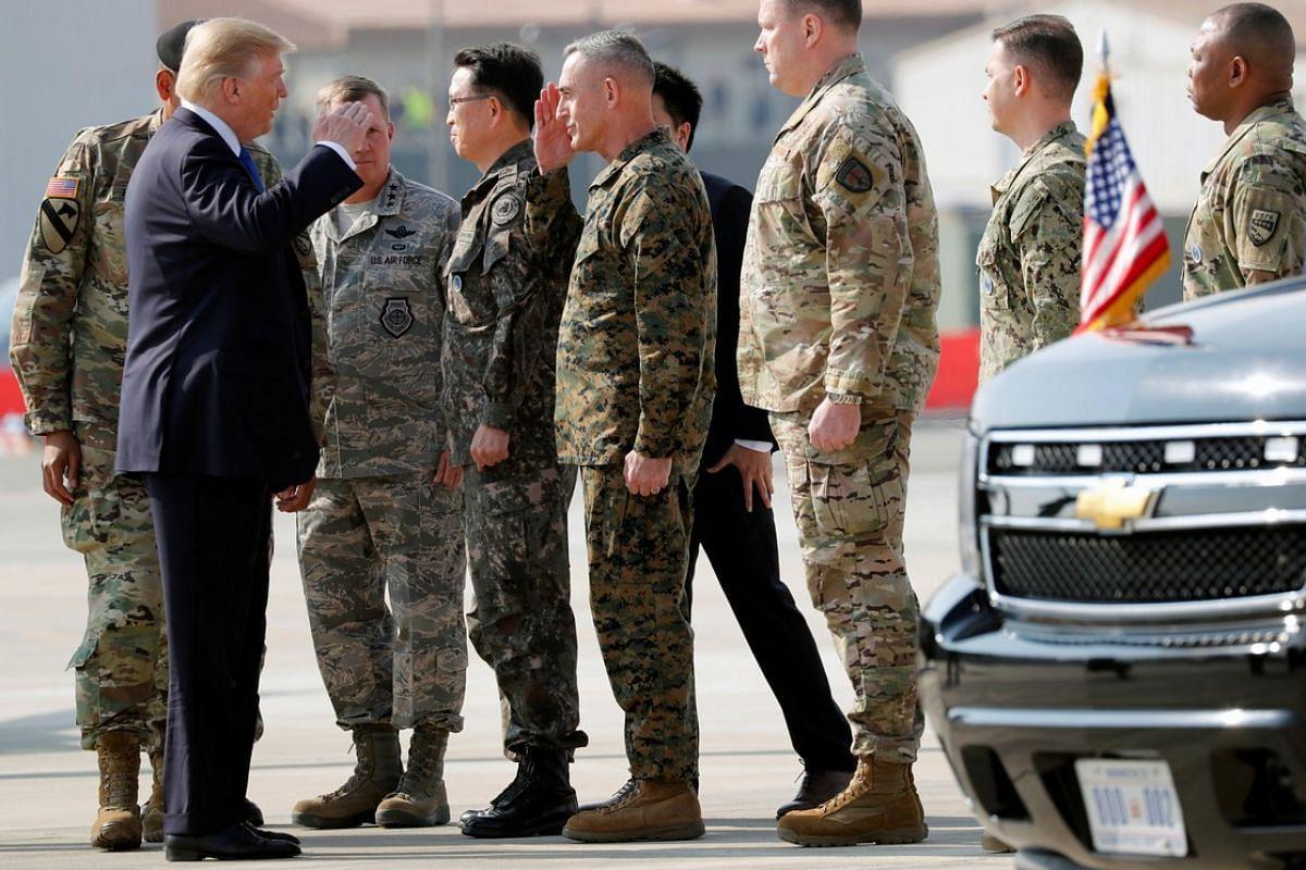 US President Donald Trump greets soldiers at US military installation Camp Humphreys in Pyeongtaek, South Korea on Nov 7, 2017.