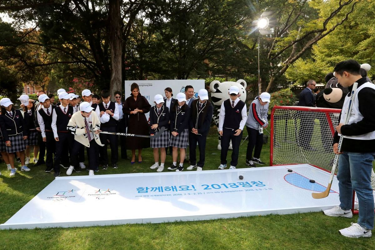 """US First Lady Melania Trump attends the """"Girls Play 2!"""" Initiative, an Olympic public diplomacy outreach campaign, with South Korean middle school students at the US Ambassador's Residence in Seoul on Nov 7, 2017."""