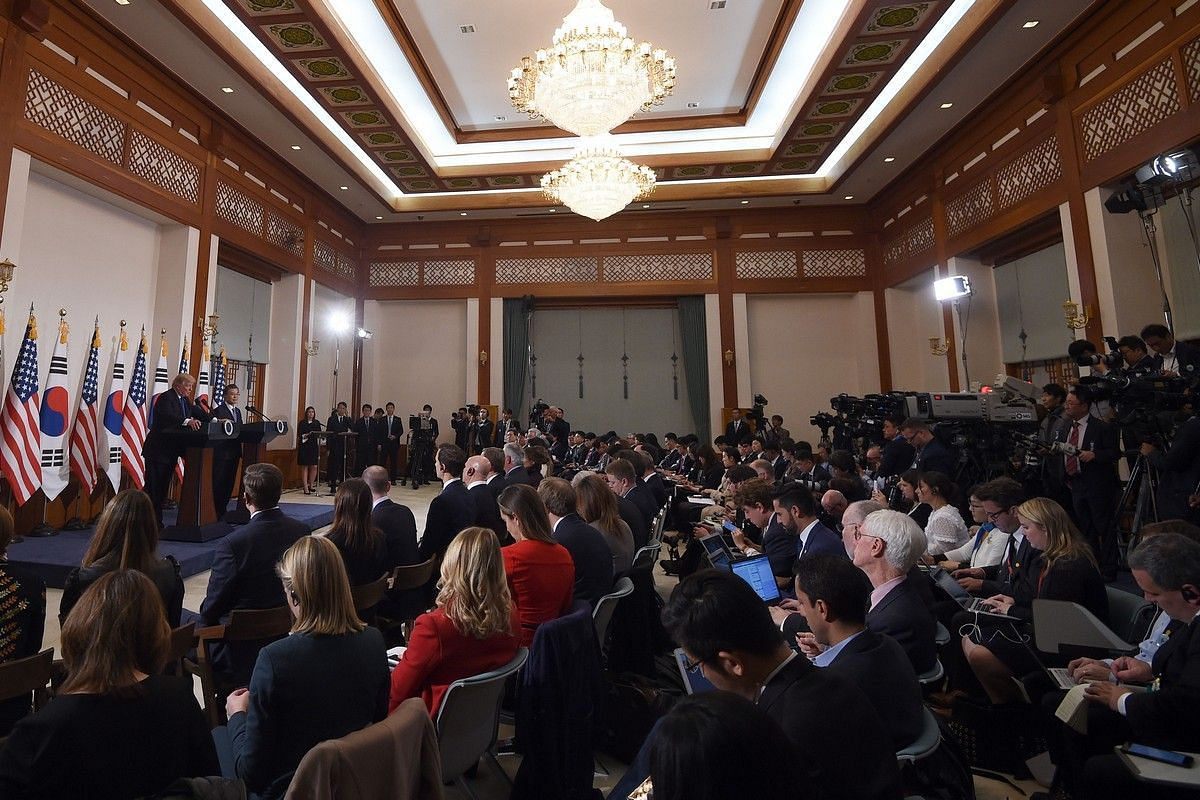US President Donald Trump and South Korea's President Moon Jae In attend at a joint press conference at the presidential Blue House in Seoul on Nov 7, 2017.