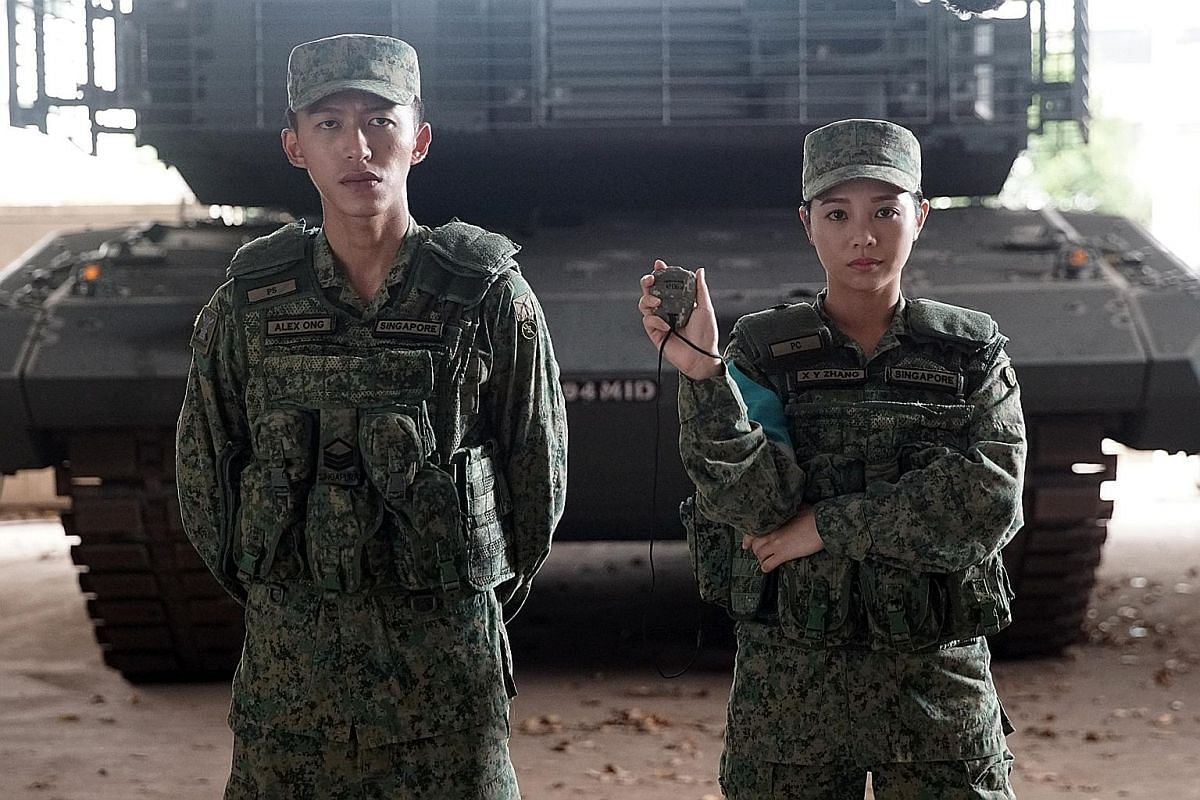 The cast of Ah Boys To Men 4 (from far left), Joshua Tan, Apple Chan, Tosh Zhang and Noah Yap, gets operationally ready.