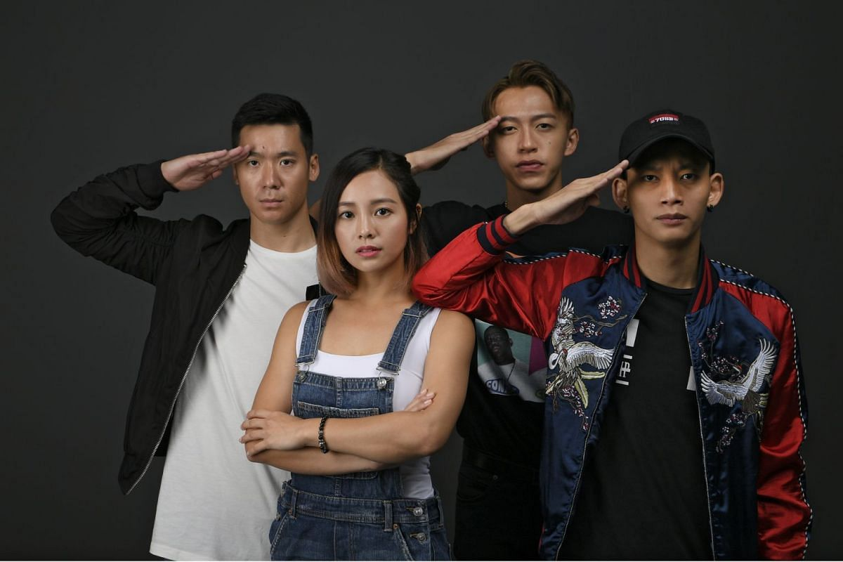 The cast of Ah Boys To Men 4 (from left), Joshua Tan, Apple Chan, Tosh Zhang and Noah Yap.