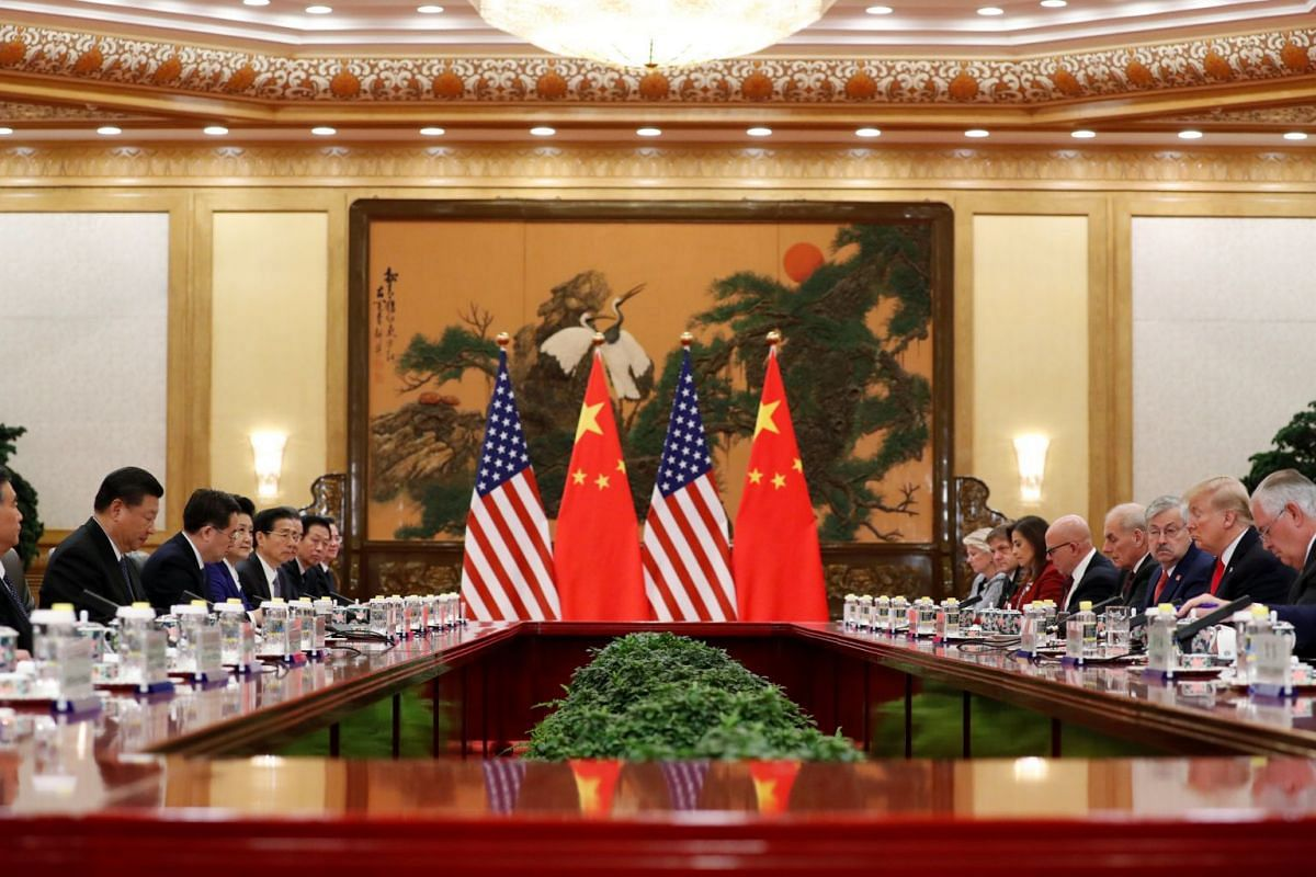 US President Donald Trump and China's President Xi Jinping hold bilateral meetings at the Great Hall of the People in Beijing, China, Nov 9, 2017.
