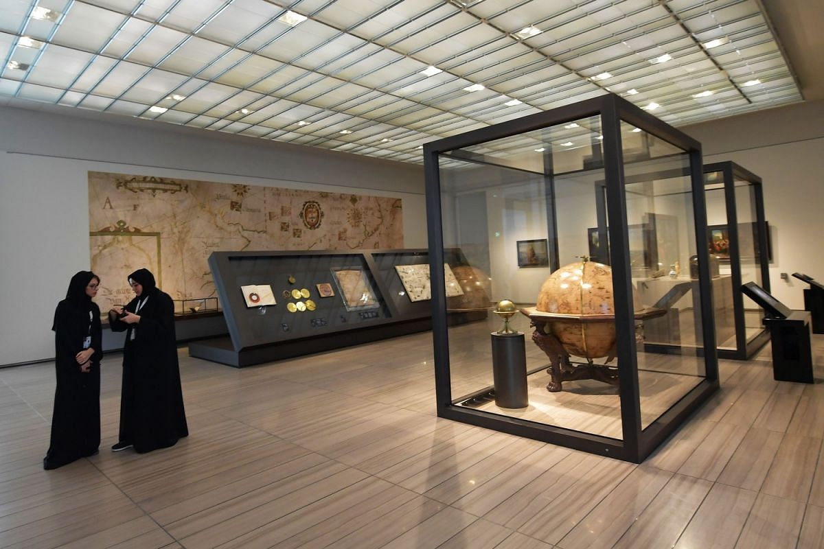 Women visit a room at the Louvre Abu Dhabi Museum during a media tour Nov 6, 2017 prior to the official opening of the museum on Saadiyat island in the Emirati capital on Nov 8, 2017.