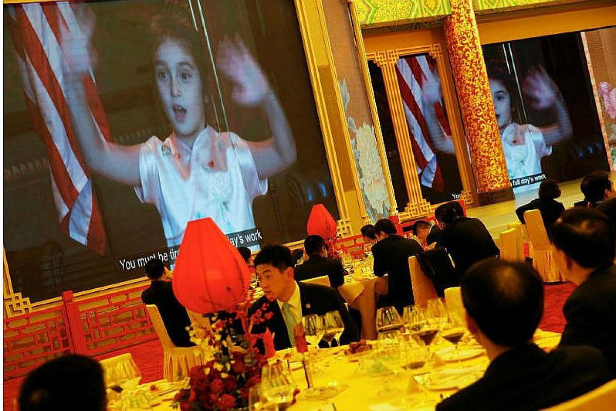 Arabella Kushner, granddaughter of US President Donald Trump, sings traditional Chinese songs in a video as part of Trump's toast as China's President Xi Jinping hosts a state dinner at the Great Hall of the People in Beijing, China on Nov 9, 2017.