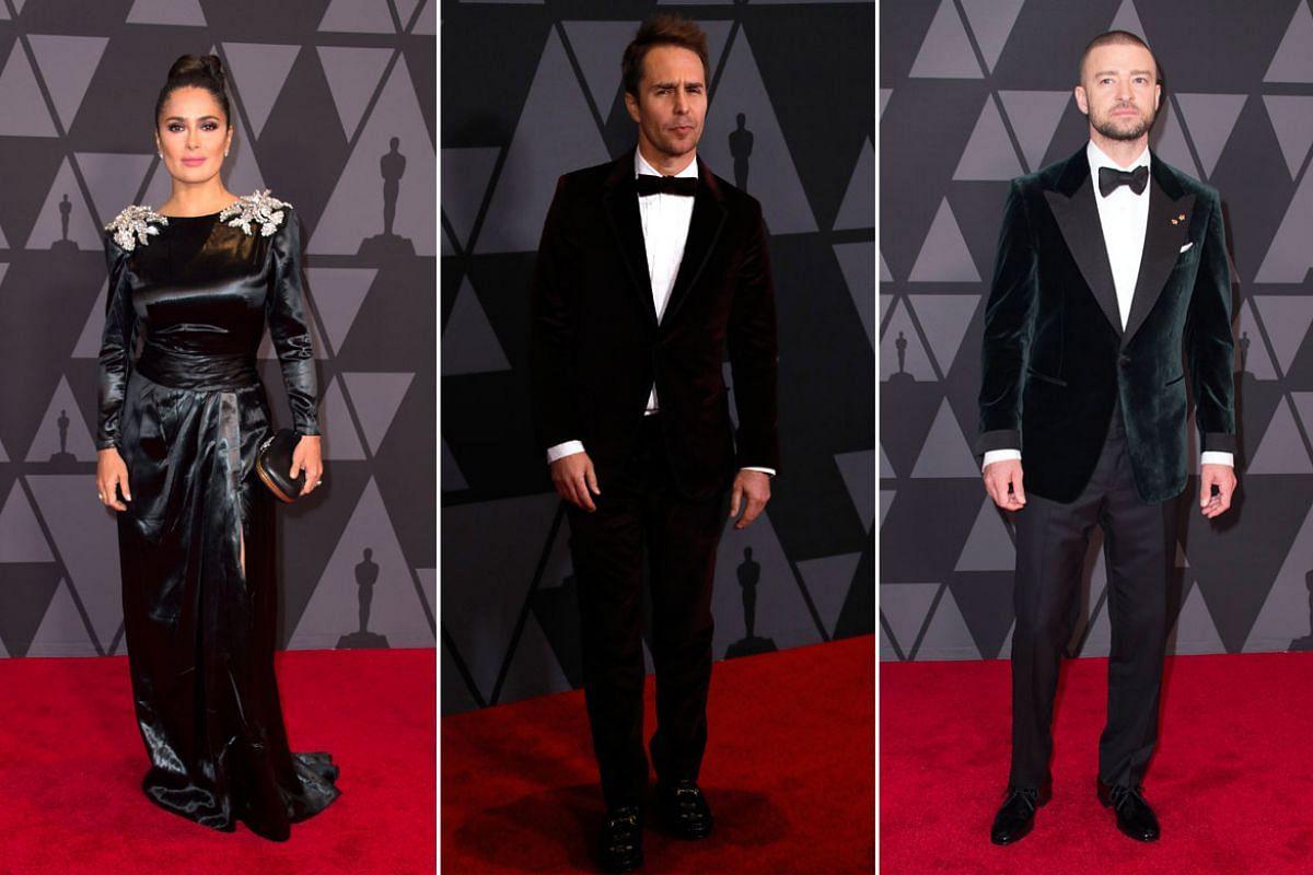 From left: Salma Hayek, Sam Rockwell, Justin Timberlake.