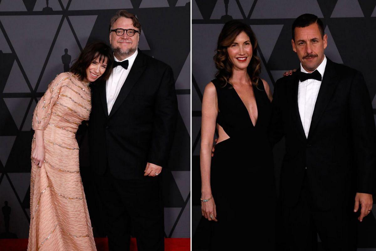 From left: Lorenza Newton, Guillermo del Toro, Jackie Sandler and Adam Sandler.