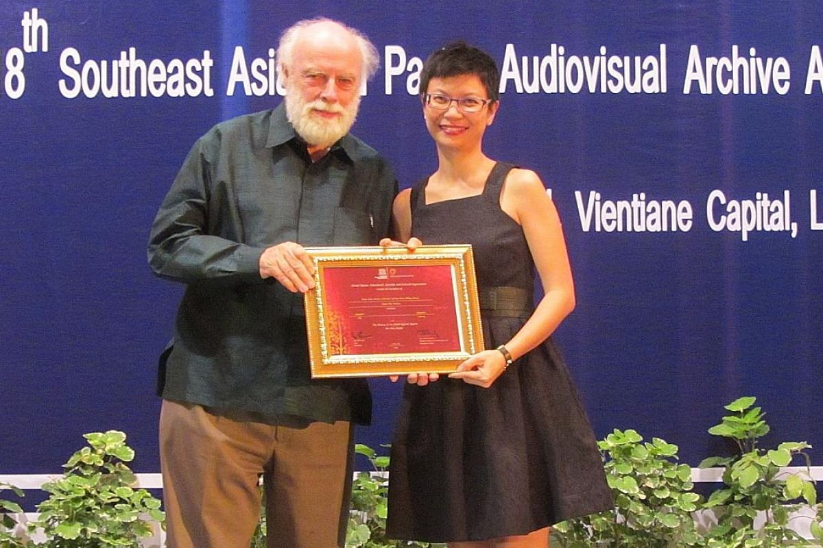 Ms Chan receiving an award during the Unesco Memory of the World Asia-Pacific ceremony in Laos for the inscription of the AFA Cathay-Keris Malay Classics in 2014. Ms Karen Chan, executive director of the Asian Film Archive, gets great satisfaction wh