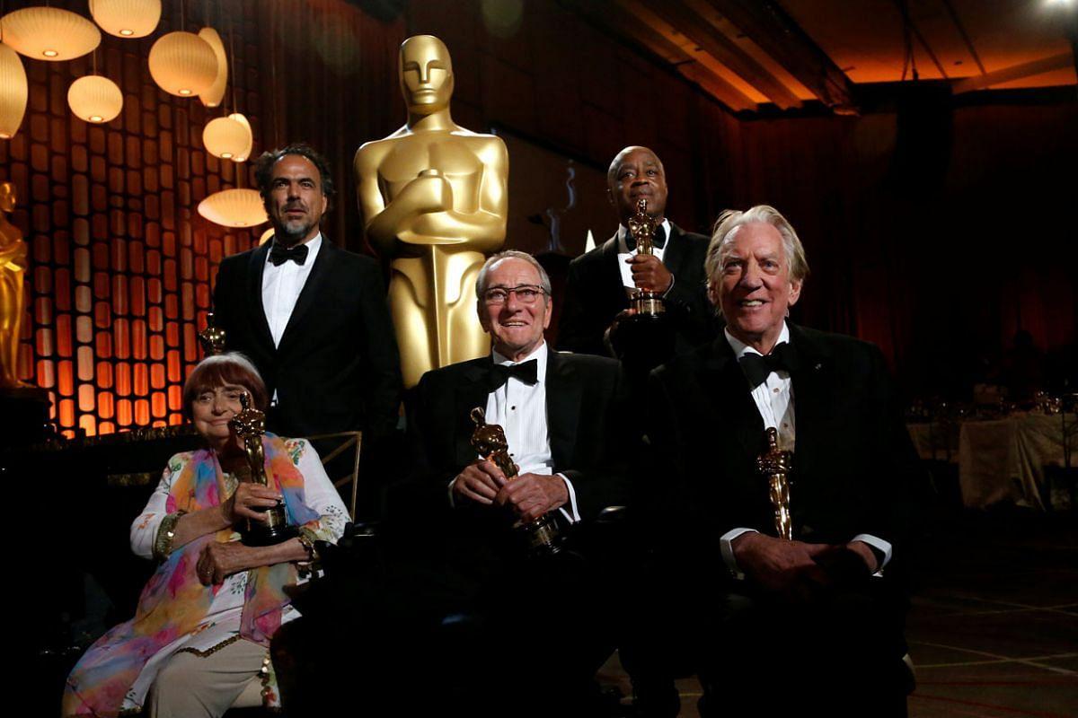 From left: Agnes Varda, Alejandro Gonzalez Inarritu, Owen Roizman, Charles Burnett and Donald Sutherland.