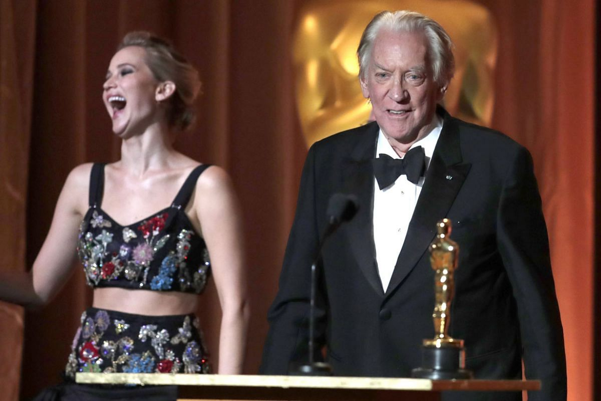 From left: Jennifer Lawrence and Donald Sutherland.