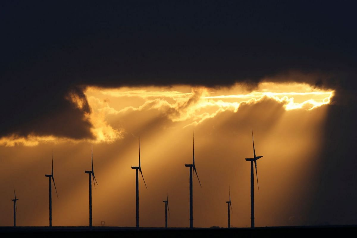 Power-generating windmill turbines are seen during sunset at a wind park near Reims, France, November 13, 2017.