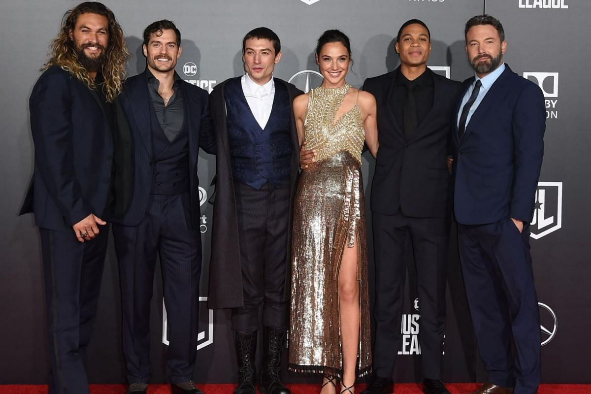 Cast members (from left to right) Jason Momoa, Henry Cavill, Ezra Miller, Gal Gadot, Ray Fisher and Ben Affleck attend the world premiere of Warner Bros. Pictures' Justice League at the Dolby Theater in Hollywood, California on Nov 13, 2017.