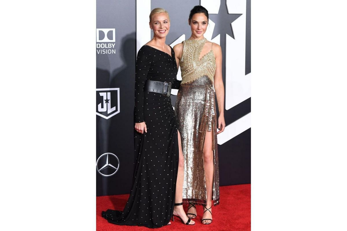 Connie Nielsen (left) and Gal Gadot arrive for the world premiere of Justice League at the Dolby Theater in Hollywood, California on Nov 13, 2017.