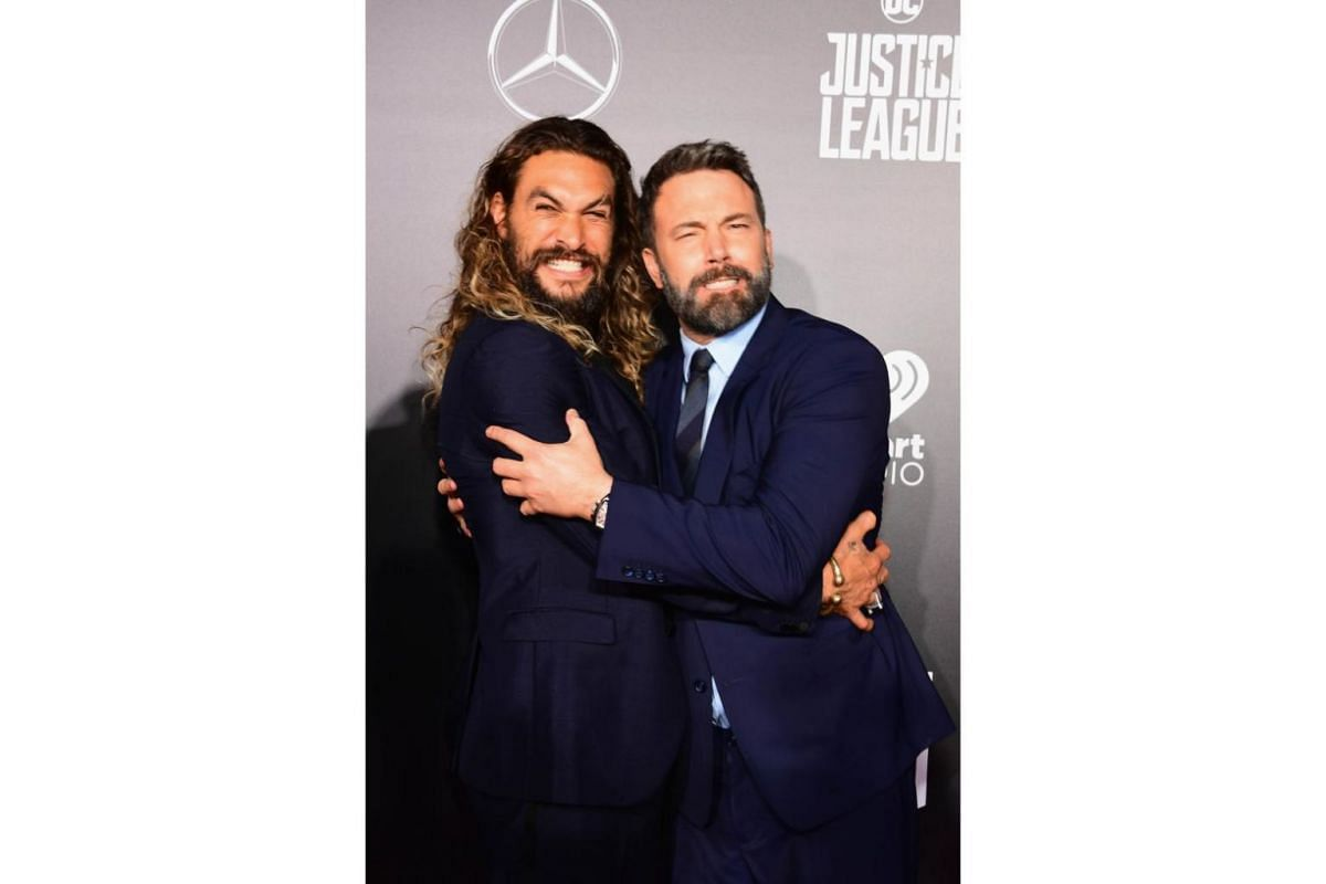 Actors Jason Momoa (left) and Ben Affleck at the premiere of Warner Bros. Pictures' Justice League at Dolby Theatre in Hollywood, California on Nov 13, 2017.