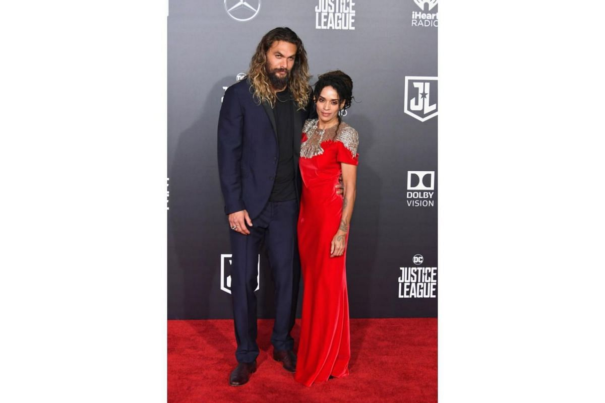 Jason Momoa and Lisa Bonet at the world premiere of Justice League in Hollywood, California on Nov 13, 2017.