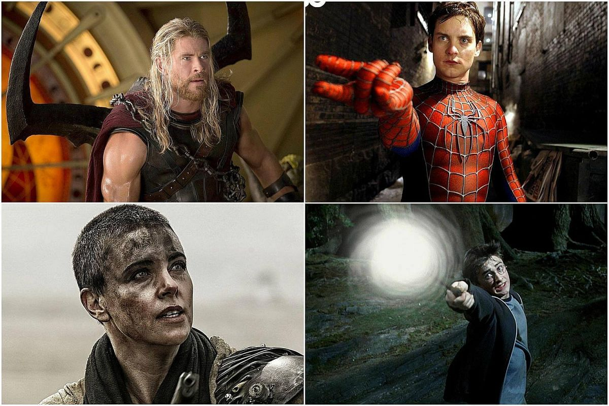 Clockwise from top left: Chris Hemsworth in Thor: Ragnarok, Tobey Maguire in Spider-Man 2, Charlize Theron in Mad Max: Fury Road and Daniel Radcliffe in Harry Potter And The Prisoner of Azkaban.