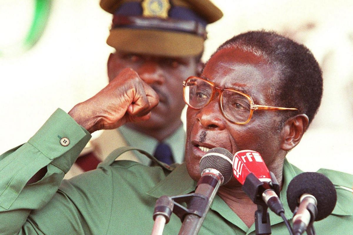 A file photo taken on April 8, 2000 shows former Zimbabwe President Robert Mugabe speaking at his first election rally for the coming Parliamentary elections in Bindura, 80 kilometers north of Harare.