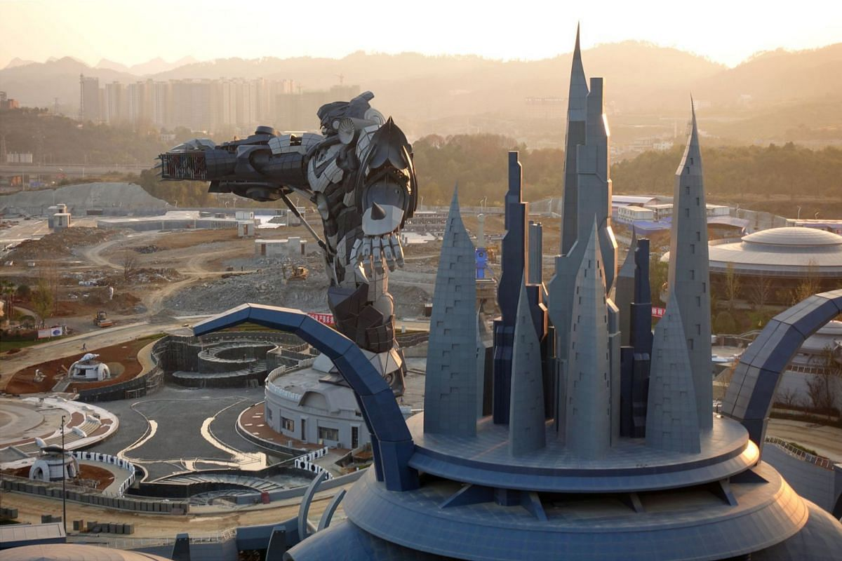 A view of the Oriental Science Fiction Valley theme park at sunset, in Guiyang, Guizhou province, China November 16, 2017.