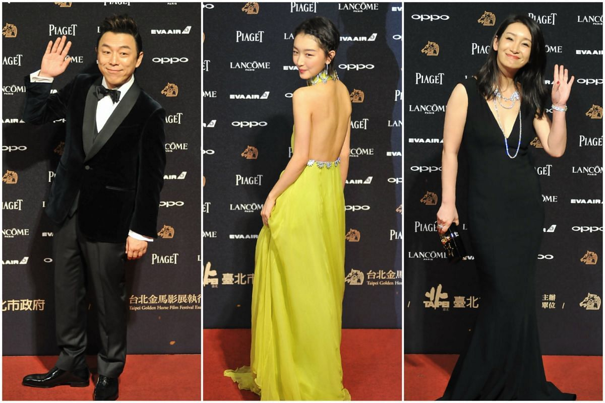 (From left) Actors Huang Bo, Zhou Dongyu and Qin Hailu arriving on the red carpet for the 54th Golden Horse Film Awards in Taipei on Nov 25, 2017.