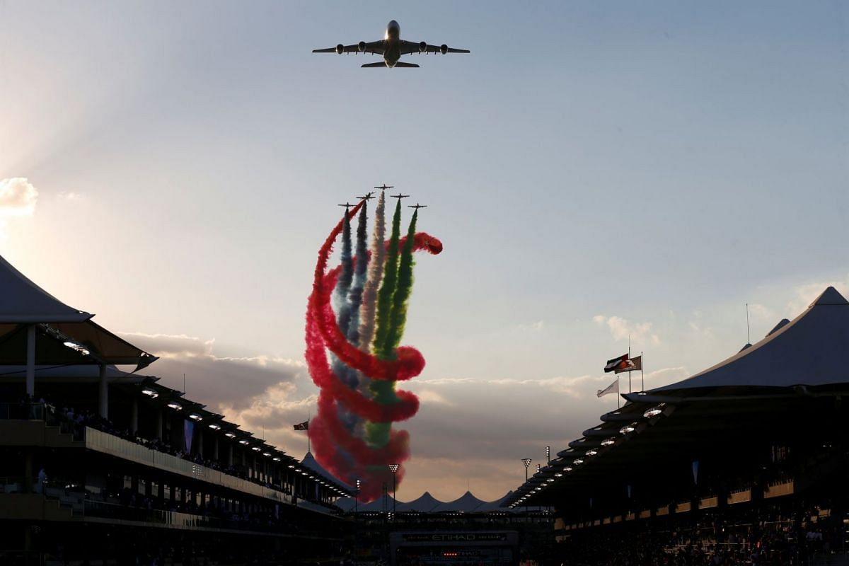 Planes fly over the circuit before the Formula One Abu Dhabi Grand Prix race at the Yas Marina circuit in Abu Dhabi, United Arab Emirates on November 26, 2017. PHOTO: REUTERS