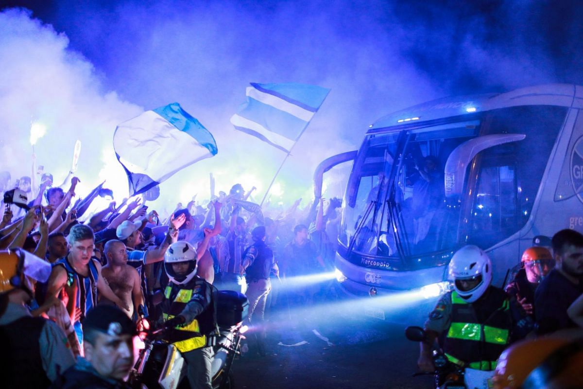A bus with Gremio football players arrives at the airport in Porto Alegre, Brazil on November 27, 2017. PHOTO: REUTERS
