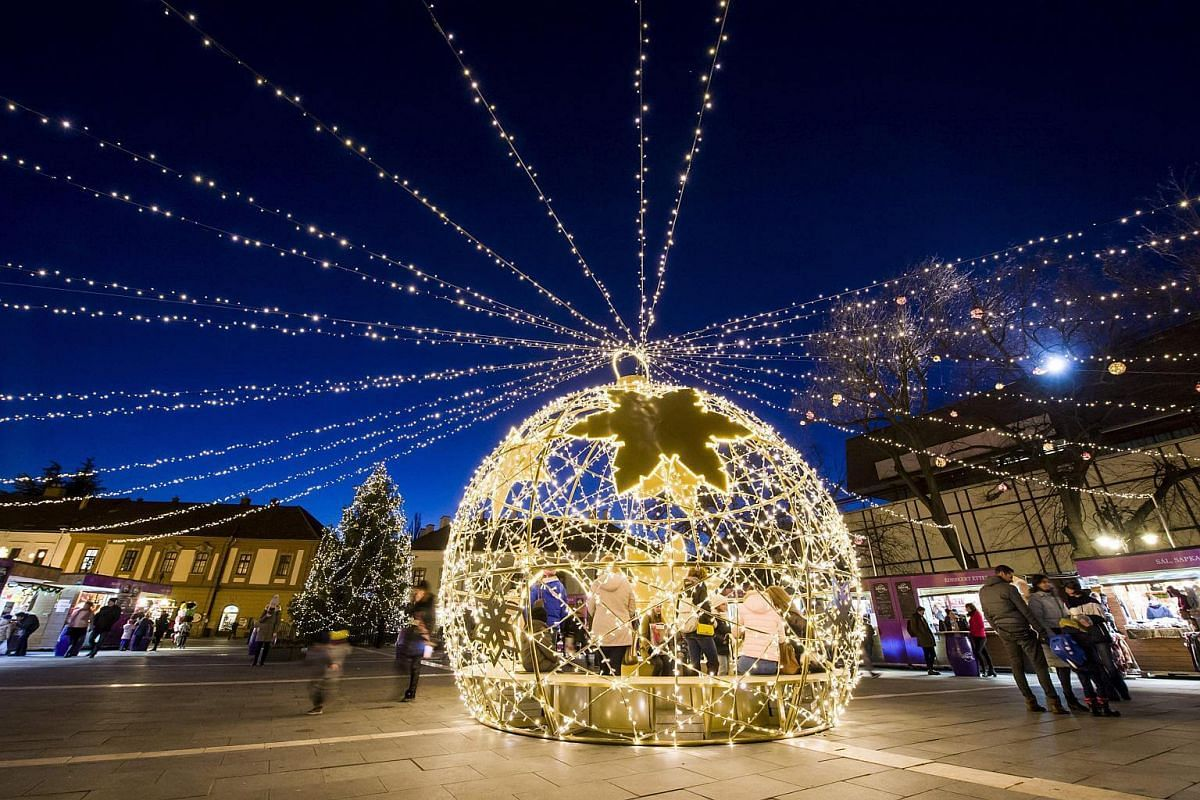The Christmas decoration set up at the Dobo square in Eger, Budapest, on Nov 27, 2017.