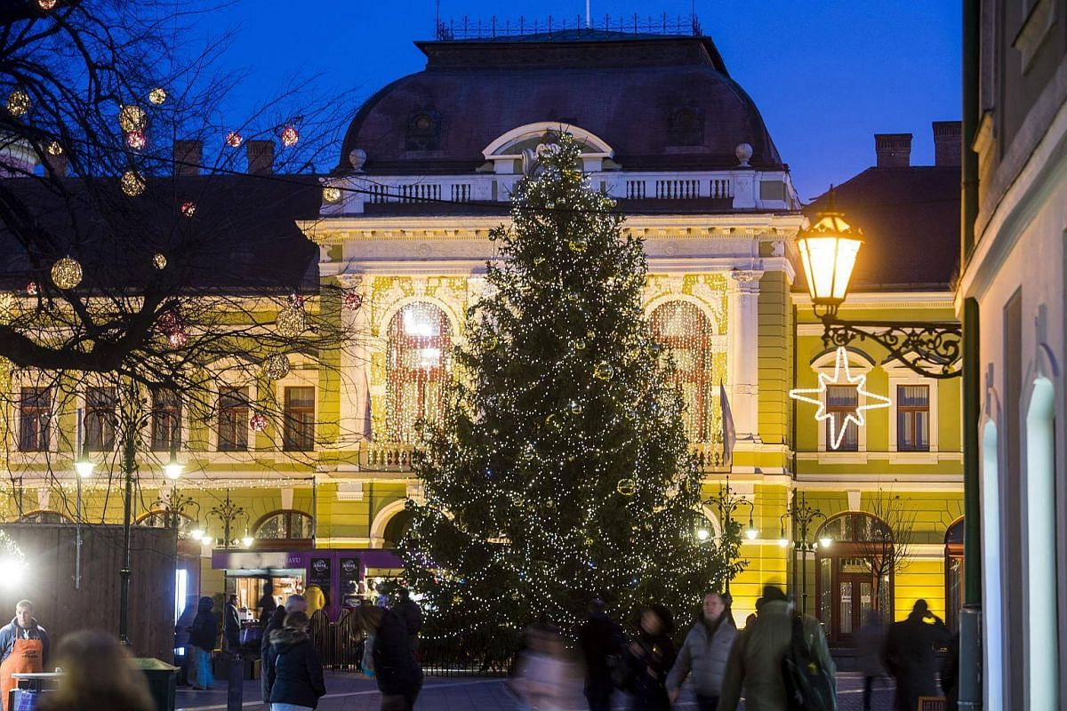 A huge Christmas Tree set up at the Dobo square in Eger, Budapest, on Nov 27, 2017.