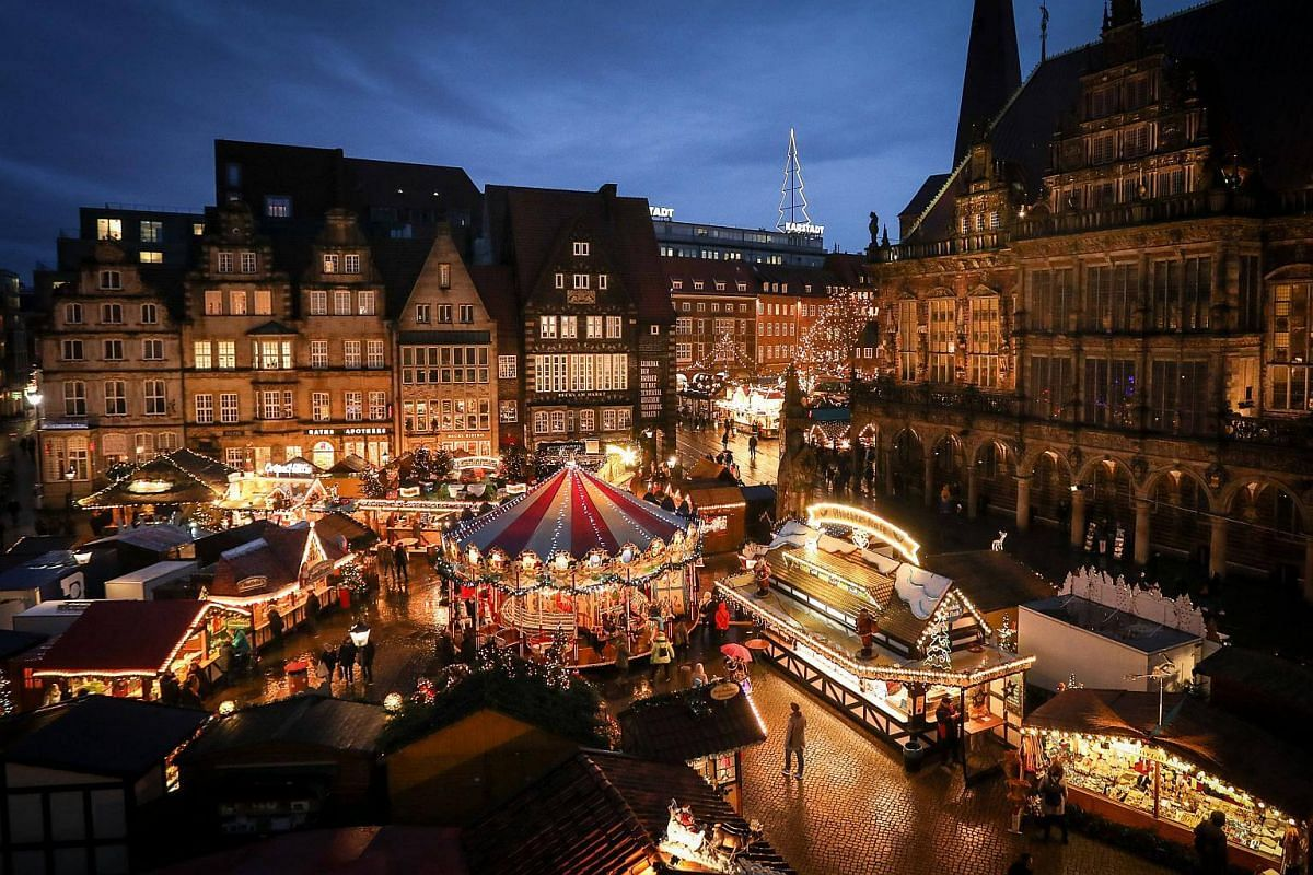 The Christmas Market in front of the historic city hall of Bremen, Germany, on Nov 27, 2017.