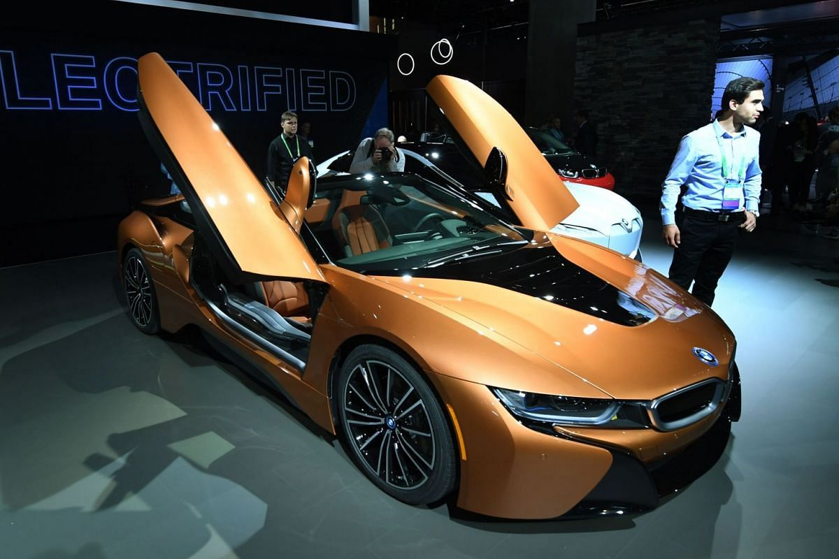 The exterior of the new, updated BMW I8 sports car being displayed at the 2017 LA Auto Show in Los Angeles on Nov 29, 2017.