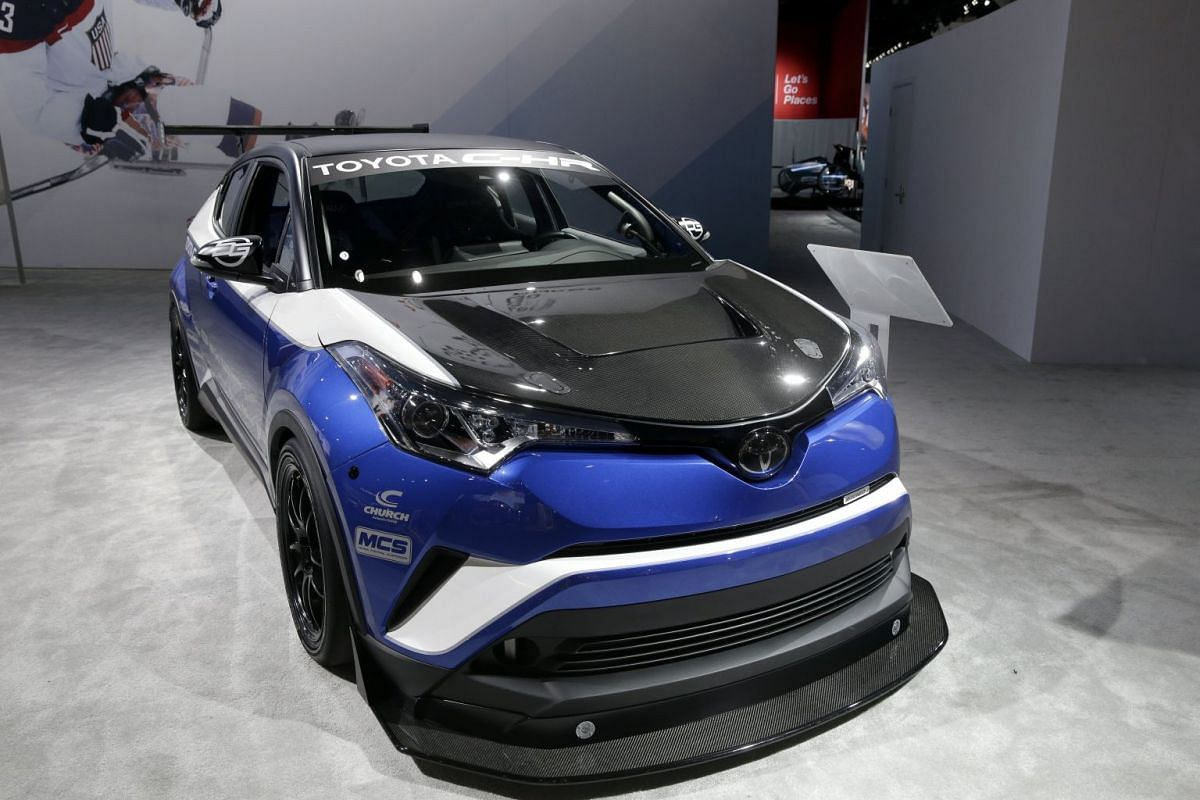 The Toyota C-HR R-Tuned is displayed at the LA Auto Show at the Convention Centre in Los Angeles on Nov 29, 2017.