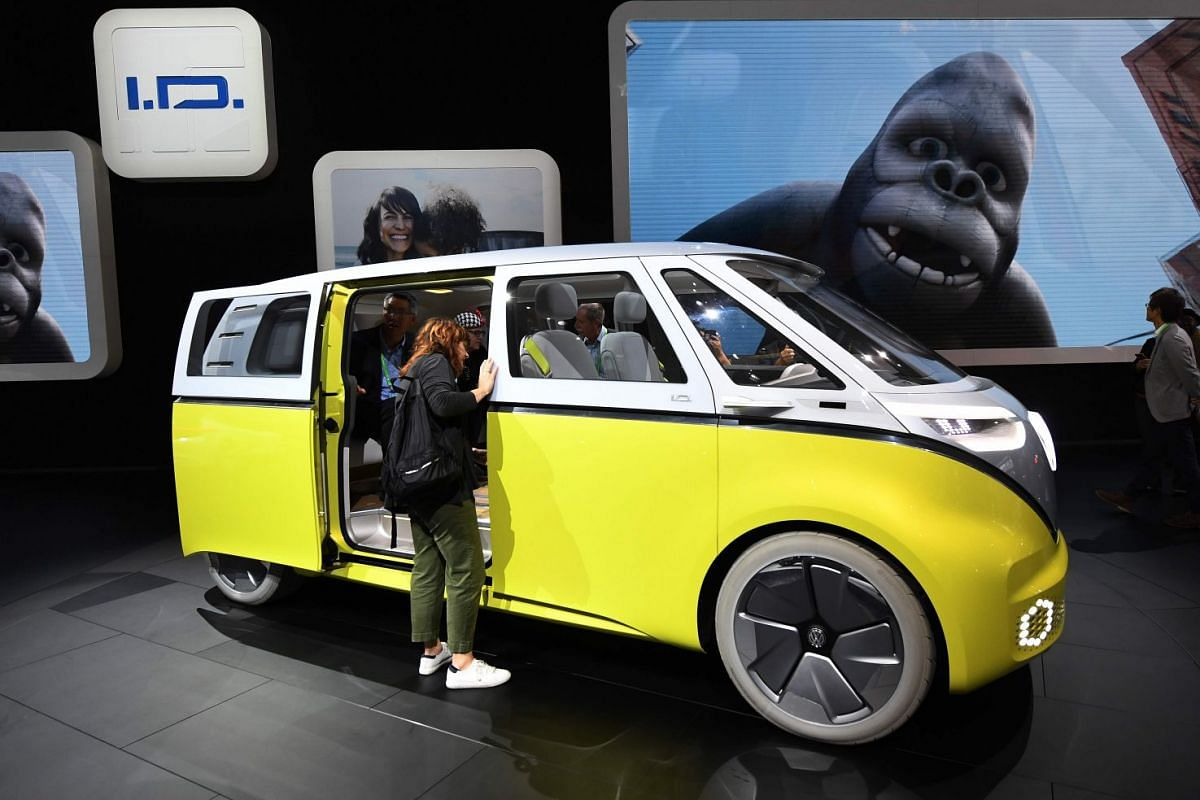 Volkswagen's new I.D.Buzz hybrid concept car, which is expected to be launched in 2019/2020, on display at the LA auto show on Nov 29, 2017.