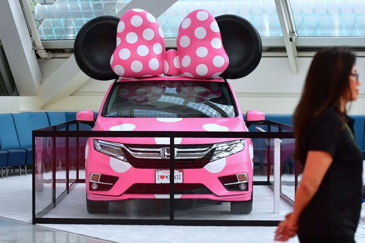 A Minnie model version of the 2018 Honda Odyssey is displayed at the LA Auto Show in Los Angeles.