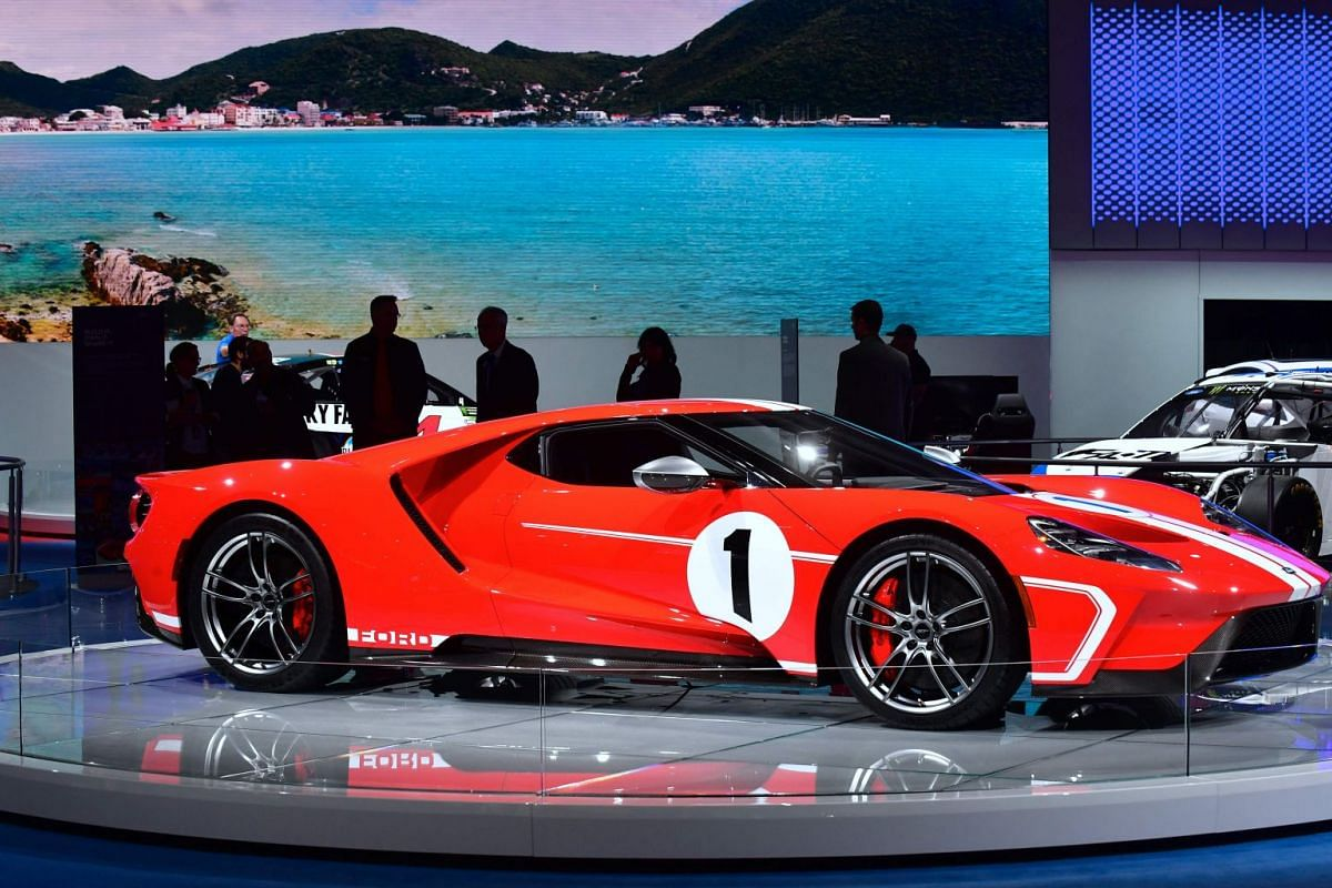 A 2018 Ford GT '67 Heritage Edition is seen on display at a booth at the LA Auto Show in Los Angeles on Nov 29, 2017.