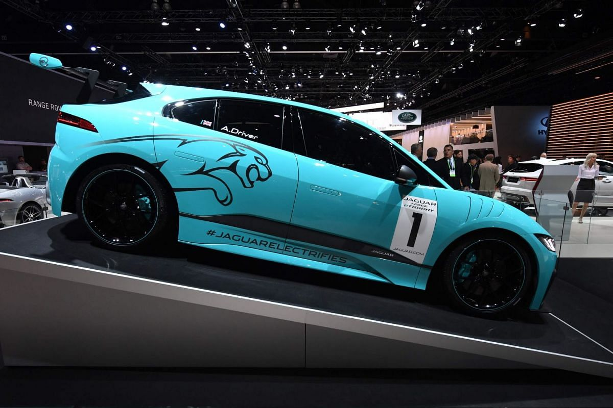 The exterior of the new Jaguar I-PACE eTrophy electric race car is seen on display at the 2017 LA Auto Show in Los Angeles.