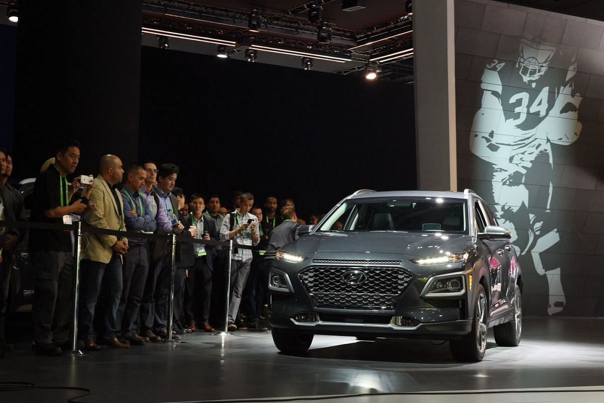 Hyundai introducing the new Kona SUV during the AutoMobility LA trade show in Los Angeles on Nov 29, 2017.