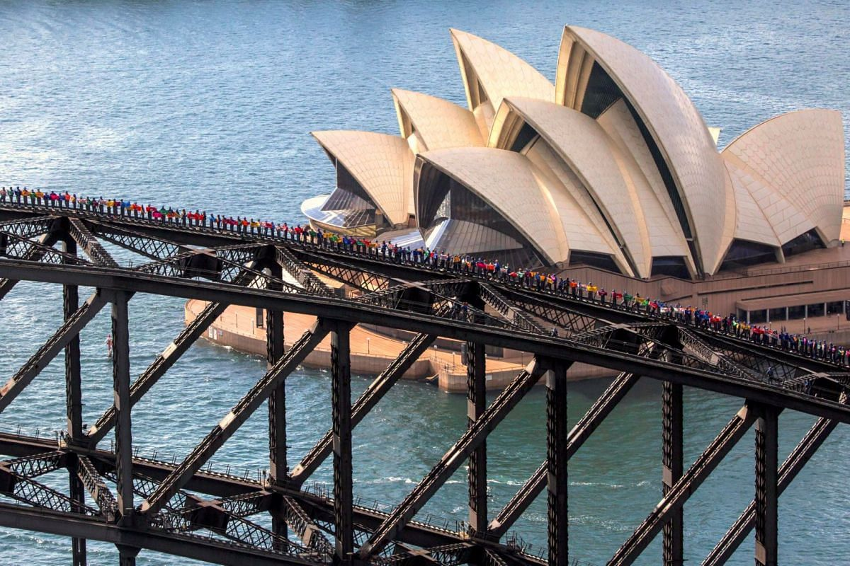 A supplied photo shows the Sydney Opera House behind some of the 360 university students from Canada and China as they stand atop of the Sydney Harbour Bridge to set a new record for the most number of people standing on the bridge arc at one time, i