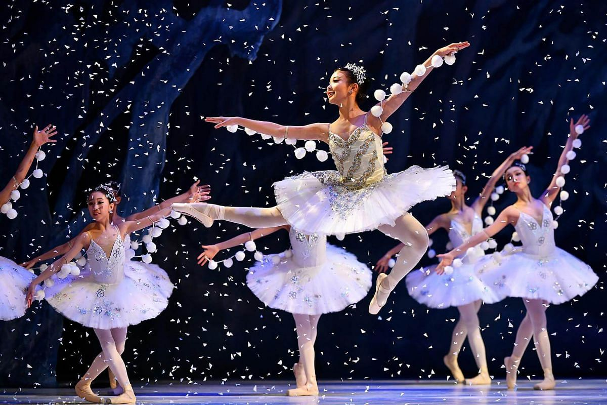 Ms Reira Ikeda dancing in the lead role of snow queen in Act One Scene 3 The Land of Snow.