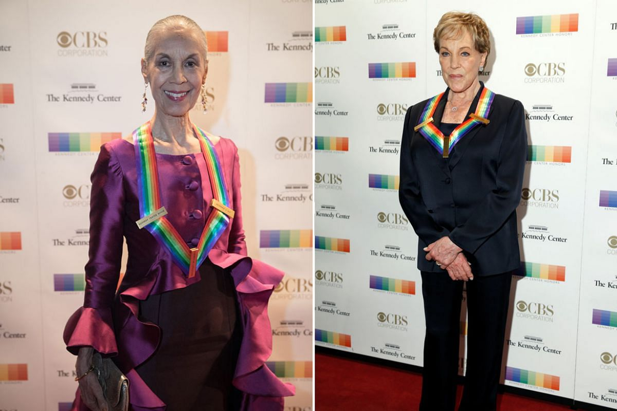 Left: Honoree Carmen de Lavallade walks the red carpet. Right: Singer and actor Julie Andrews.