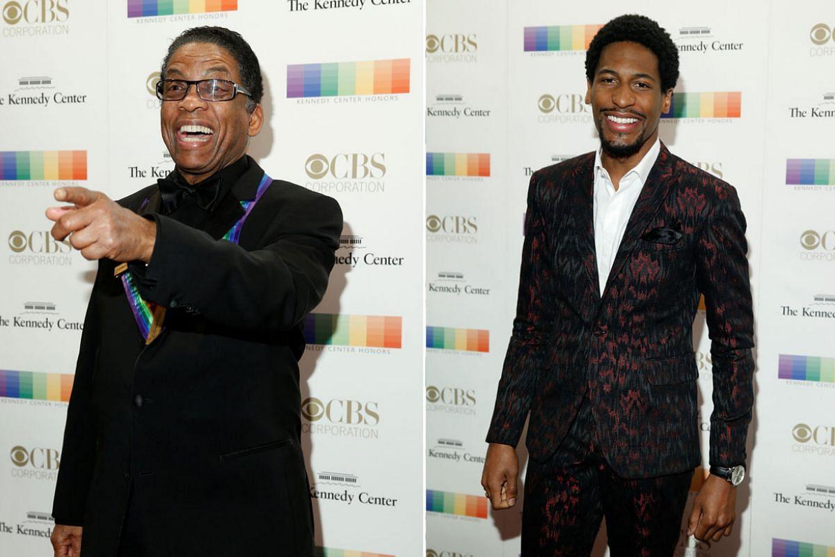 Left: Musician Herbie Hancock. Right: Musician Jon Batiste.
