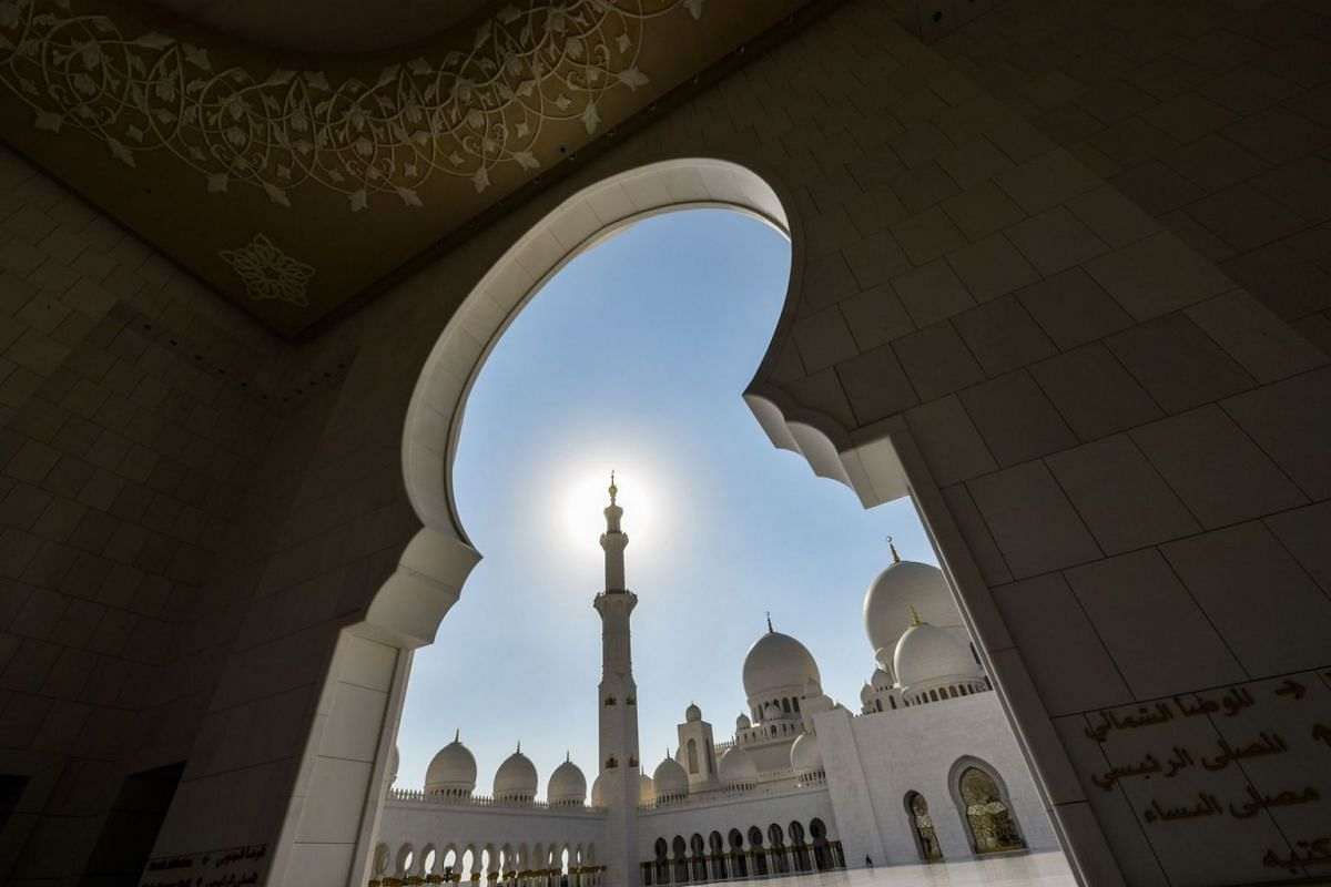 A view from the courtyard of the Sheikh Zayed Grand Mosque.
