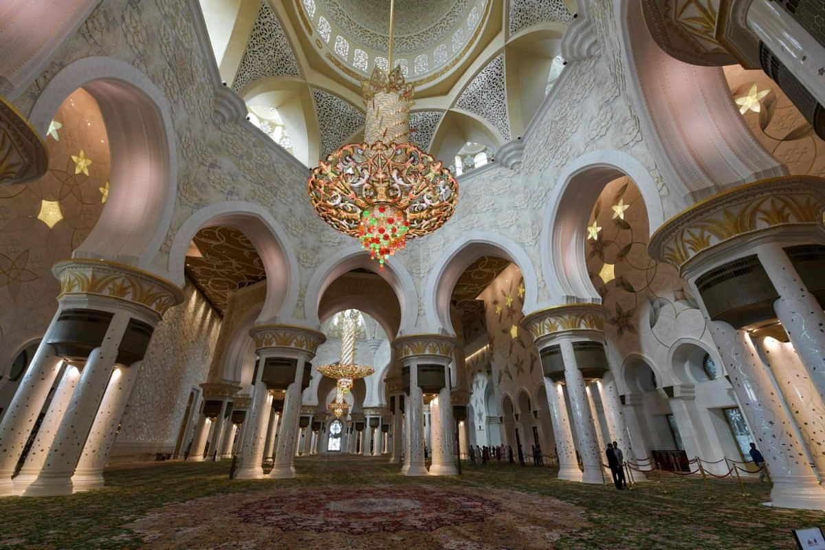 A view of the interior of the Sheikh Zayed Grand Mosque.