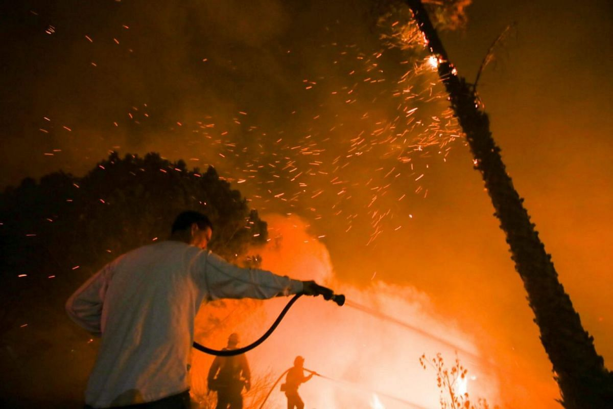 A man waters his home as firefighters battle a wildfire along a hillside in Santa Paula, California.