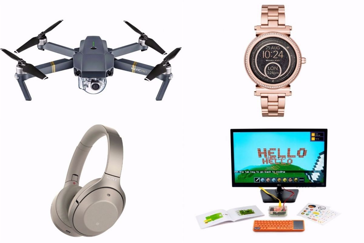 Clockwise from top left: The DJI Mavic Pro drone, Michael Kors' Access Sofie, Kano computer kit and Sony's WH-1000XM2 headphones.
