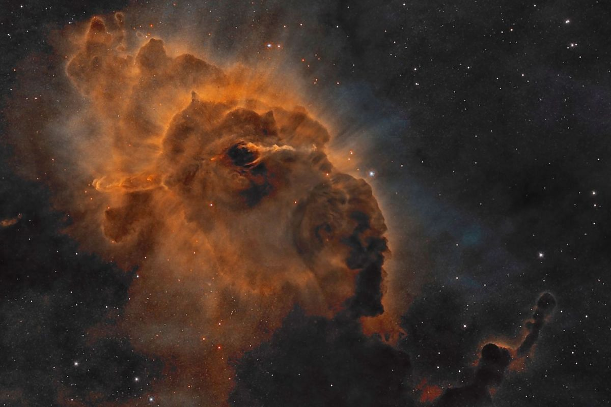 An undated handout photo provided by Spanish photographer Domingo Pestana shows HH 666: Carina Dust Pillar with Jet which was named NASA's Astronomy Picture of the Day (APOD) on Dec 6, 2017 in Santa Cruz de la Palma in Spain. DOMINGO PESTANA HANDOUT