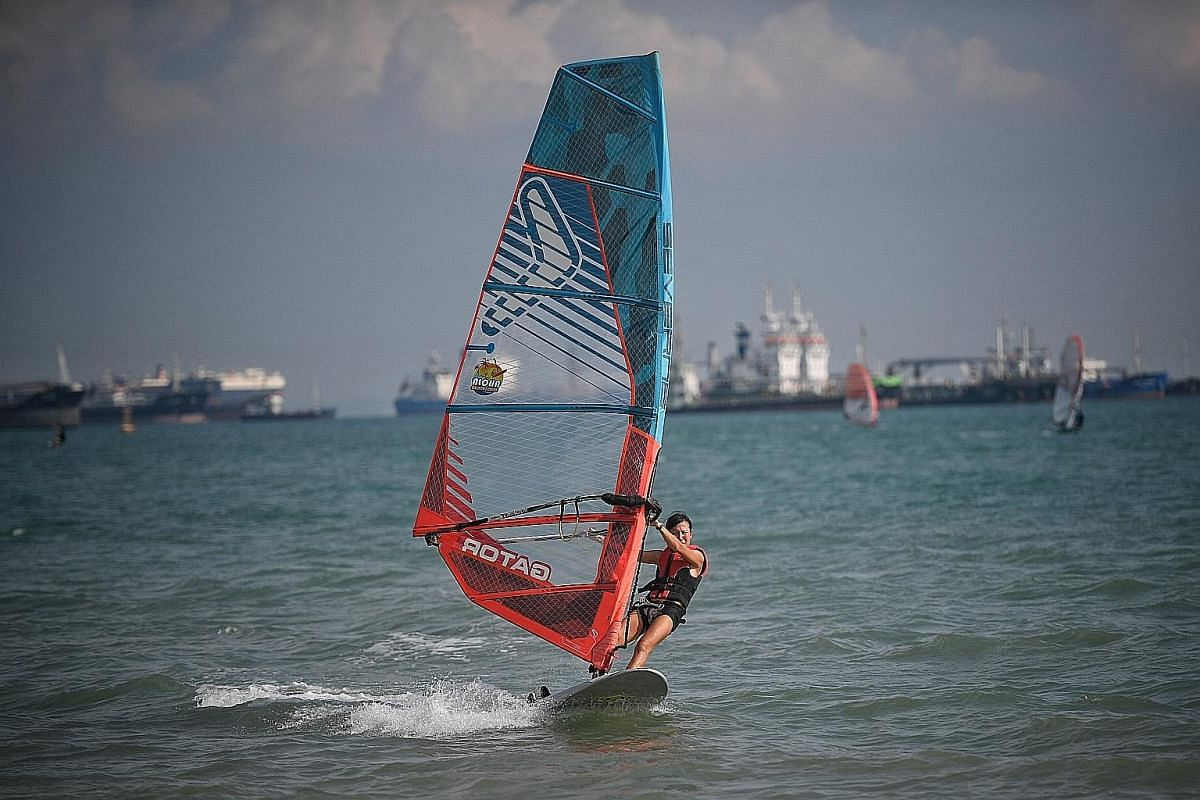 Get going with some water stunts at the Singapore Wake Park. Ms Joon Chyi Huey goes to Aloha Sea Sports Centre at least once a week to windsurf.