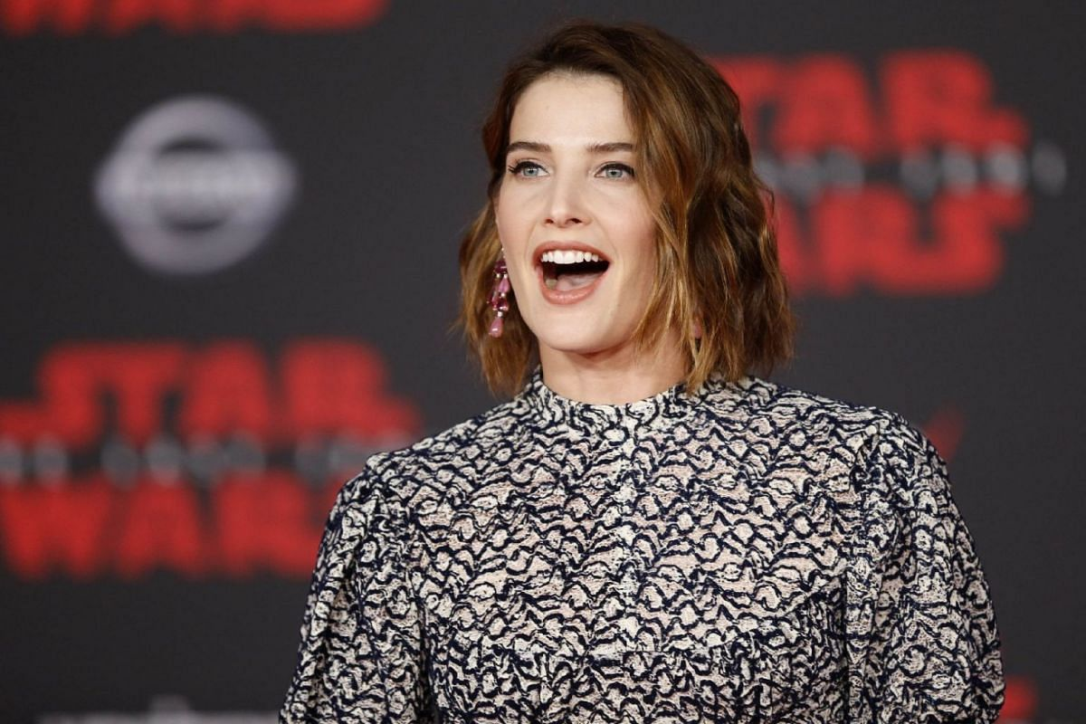 Actress Cobie Smulders reacts on the red carpet during the world premiere of Star Wars: The Last Jedi on Dec 9, 2017.