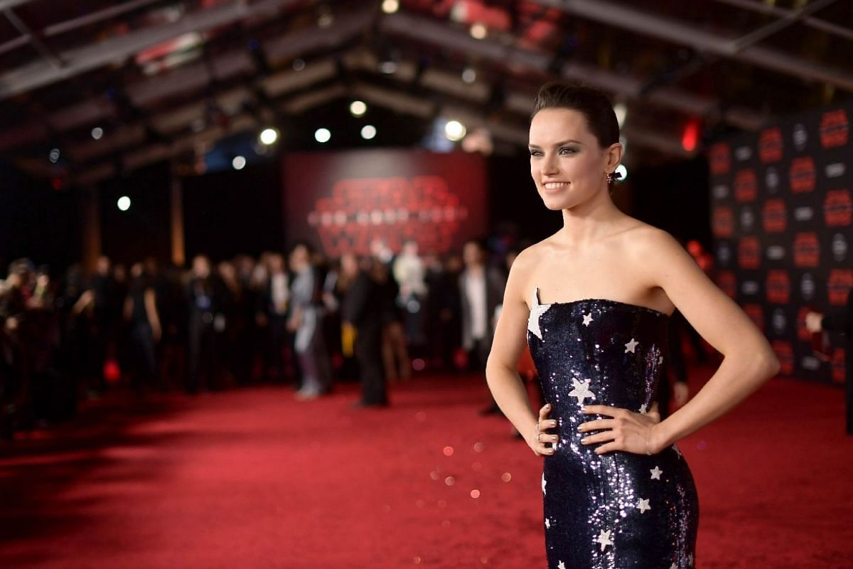 Actress Daisy Ridley, who stars in the film, arrives on the red carpet for the world premiere of Star Wars: The Last Jedi on Dec 9, 2017.