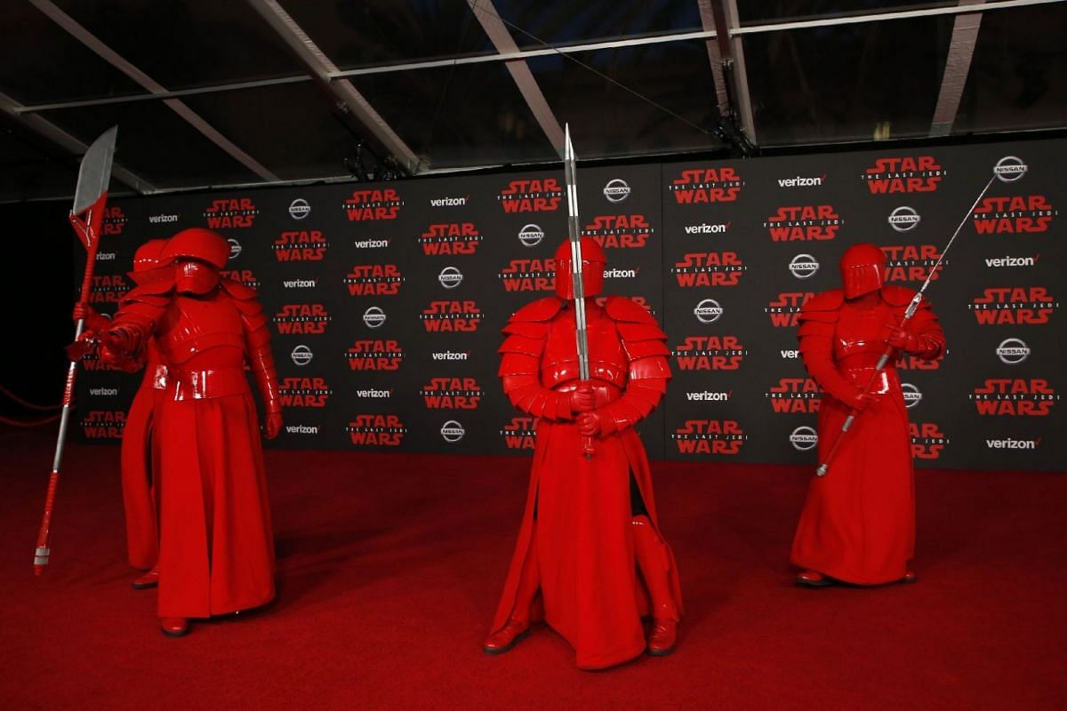 Praetorian Guards on the red carpet at the world premiere of Star Wars: The Last Jedi in Los Angeles, California.