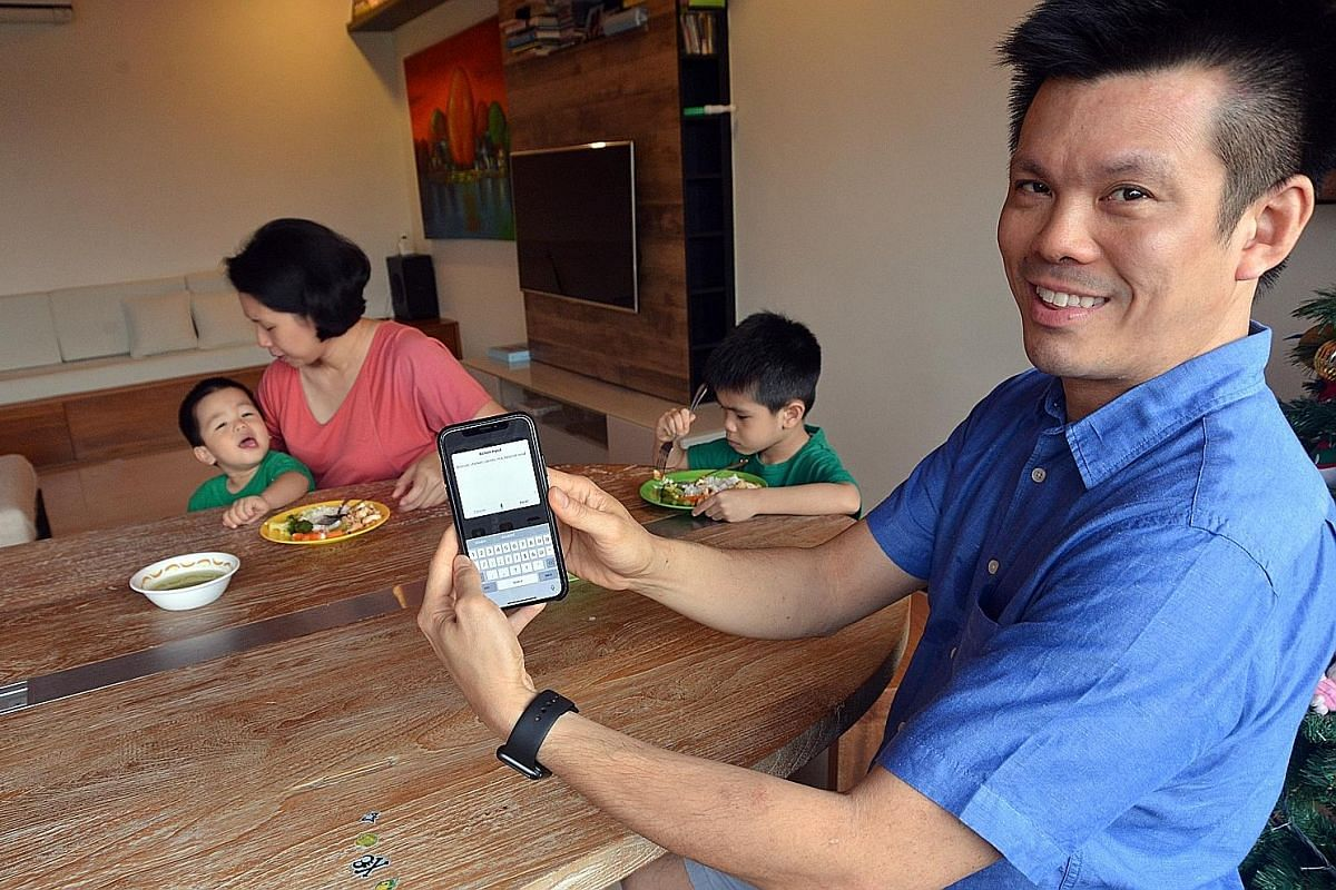 Mr Ronald Tam, who works in the technology industry, used the Launch Center Pro app to customise an ecosystem linking four apps to track his sons' food intake, vaccination and medical records, schedules, heights and weights as well as toilet habits.