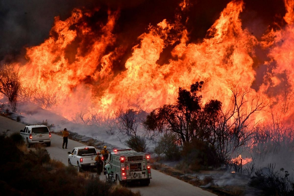 Firefighters attack the Thomas Fire's north flank with backfires as they continue to fight a massive wildfire north of Los Angeles, near Ojai, California, on Dec 9, 2017.