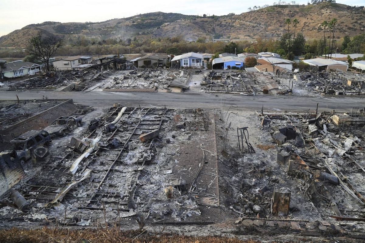 Several dozen homes in the Rancho Monserate Country Club succumbed to the Lilac Fire.